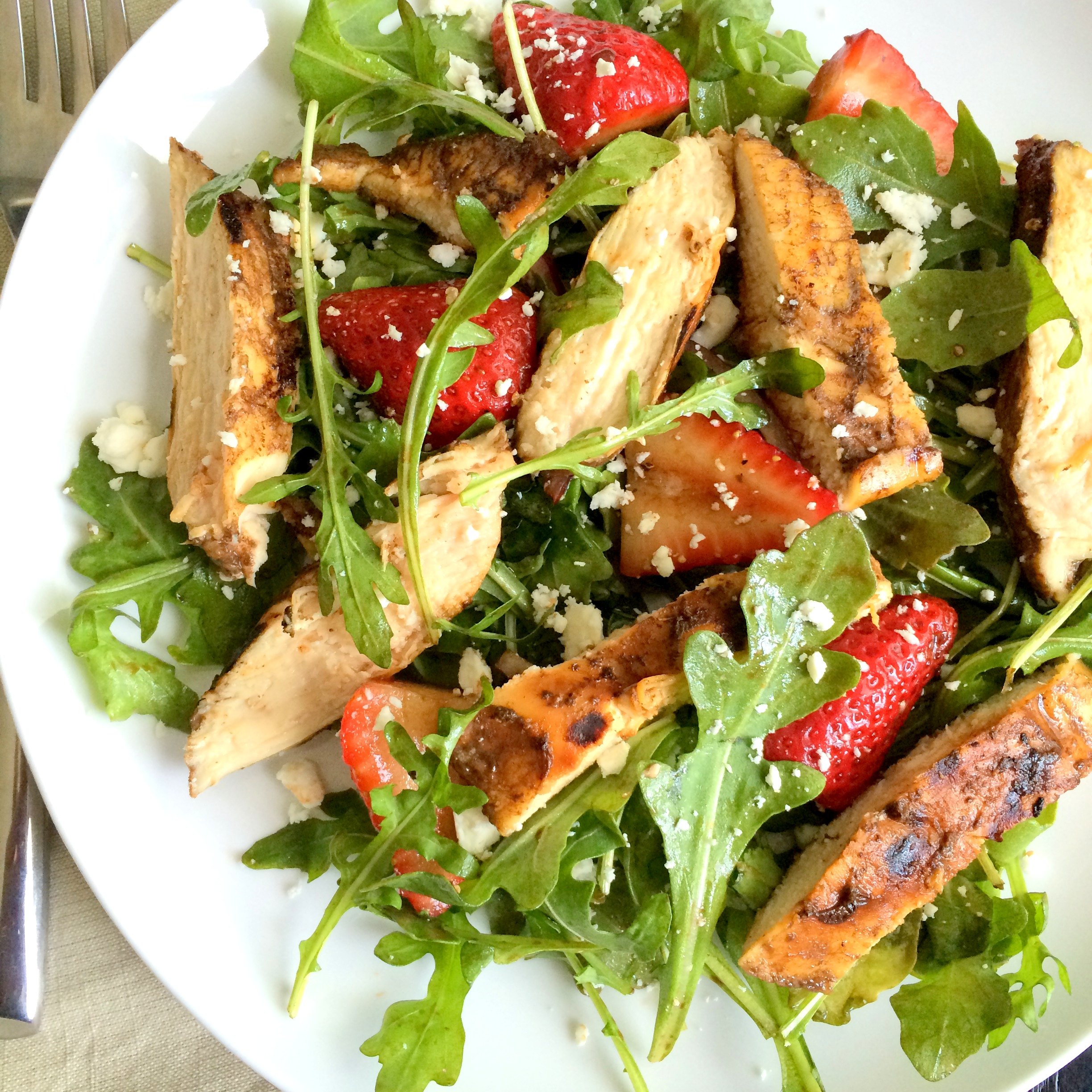 Grilled Chicken Salad with Strawberries and Feta | A Fork In Each Hand
